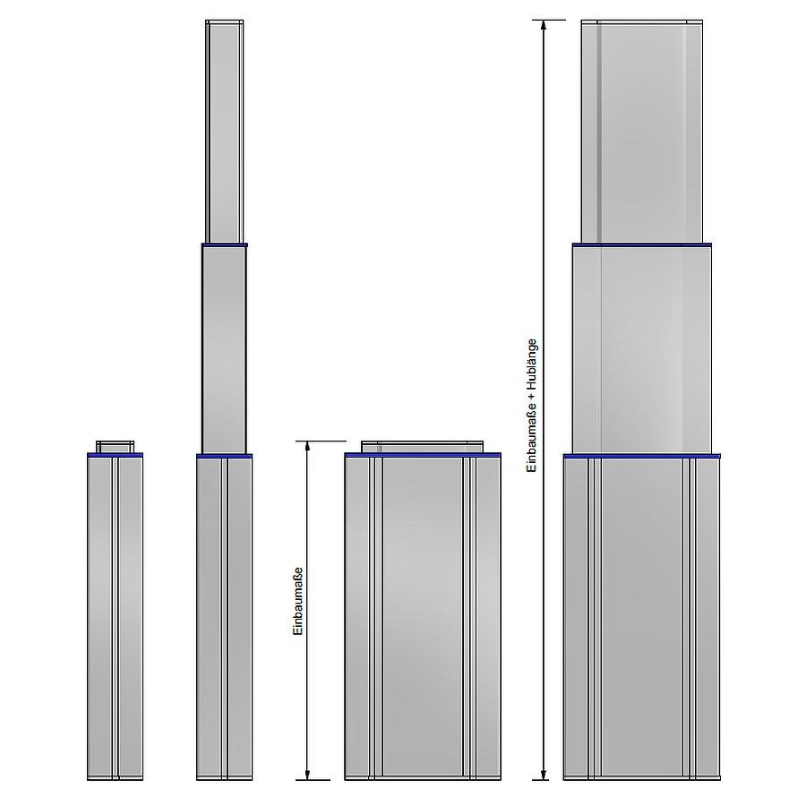 3-fach Hubsäule rechteckig MAC4
