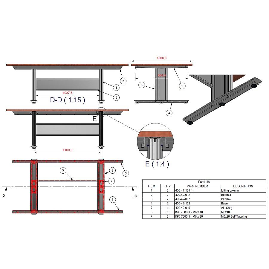 Tisch mit Hubsäulen